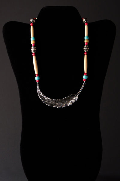 Curved Sky Feather Necklace by Michelle