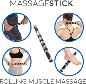 Body Back Buddy Jr. Therapy Duo - Black Body Back Buddy Jr. and Massage Stick Bundle, Athletic Recovery & Muscle Pain Relief - Body Back Company