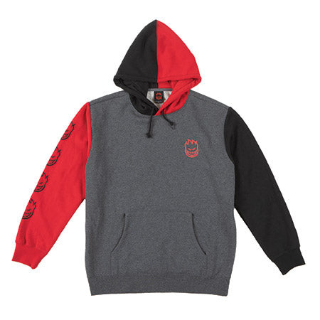 Spitfire Bighead Blocked Hoodie - Charcoal/Red/Black