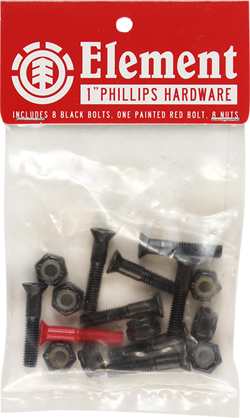 "Element Hardware Set Phillips 1"" Blk/Red"