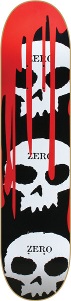 Zero 3 Skull With Blood Deck-7.87 Blk/Wht/Red