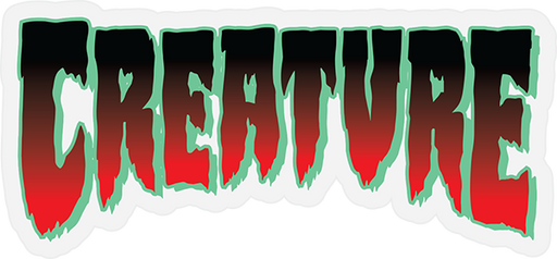 "Creature Logo Horror Mylar Decal 1.9X4.06"" Red"