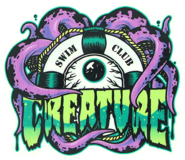 Creature Swim Club Clear Purple Decal 4X3.37""