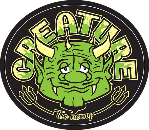 "Creature Too Horny Vinyl Decal 3.5X3"" Grn"