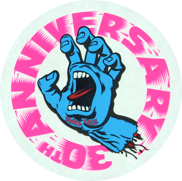 "Sc Screaming Hand Aniv.Clear 4"" Decal Pink/Blu"