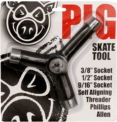 Pig Skate Tool-Black Tri-Socket/Threader