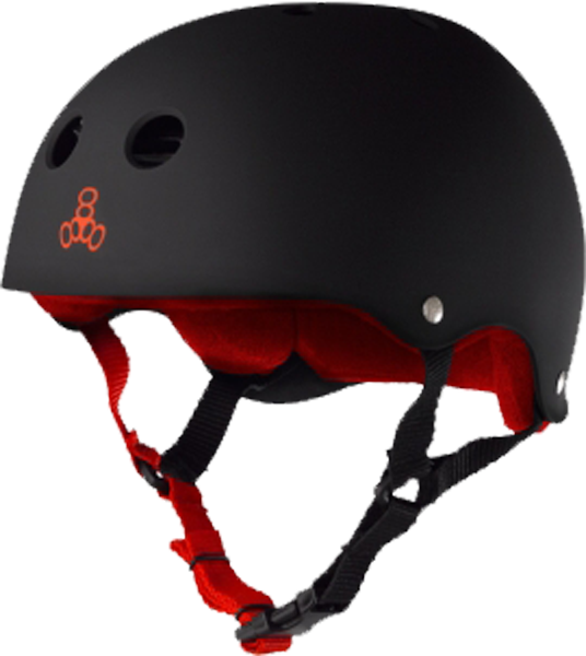T8 Helmet Blk Rubber/Red Xs