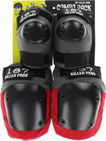 187 Combo Pack Knee/Elbow Pad Set S/M-Grey/Red