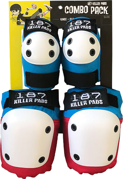 187 Combo Pack Knee/Elbow Pad Set L/Xl-Red/Wht/Blu
