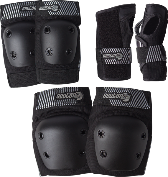 Sec9 Pursuit Jr Pad Set L/Xl-Blk Knee,Elbow,Wrist