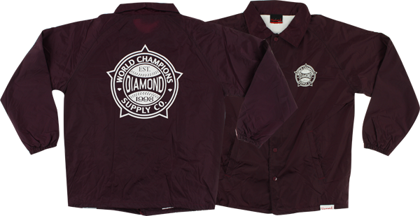 Diamond World Renowned Coaches Jacket Xl-Burgundy
