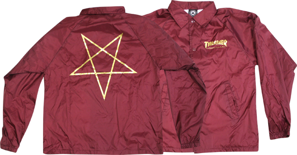 Thrasher Pentagram Coach Jacket S-Burgandy