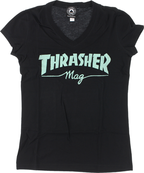 Thrasher Mag Logo Girls V-Neck Ss L-Blk/Mint