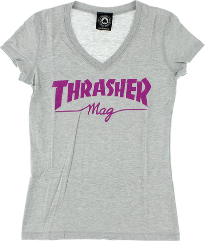 Thrasher Mag Logo Girls V-Neck Ss L-Hthr.Grey/Pink