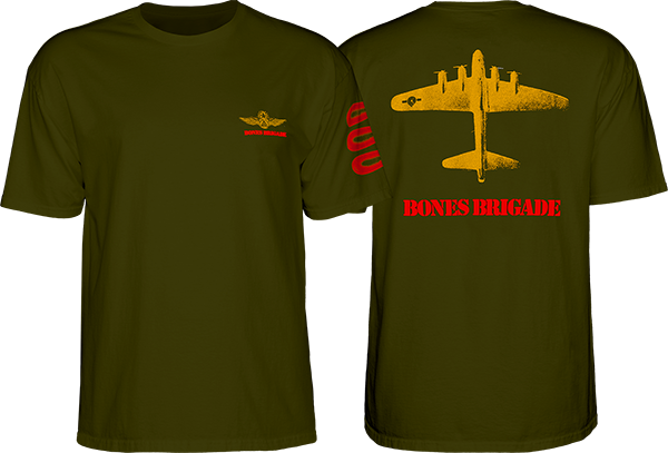 Bones Bearings Bomber Ss Tee L- Military Green