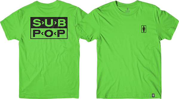 Girl X Sub Pop Logo Ss Xl-Green/Blk