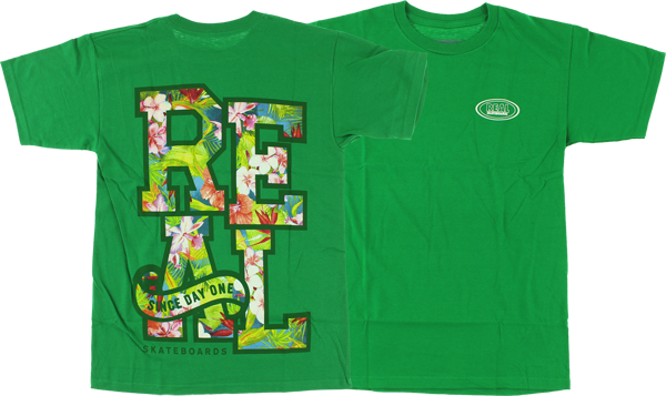Real Stacked Floral Ss L-Green