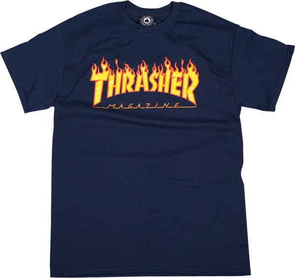 Thrasher Flame Ss L-Navy