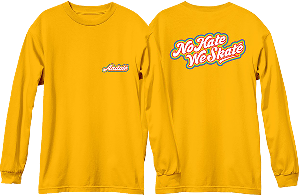 Andale No Hate We Skate Rainbow Logo L/S S-Gold