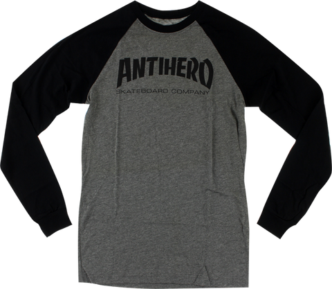 Ah Skate Co. Raglan L/S S-Heather Grey/Blk