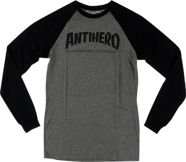 Ah Skate Co. Raglan L/S L-Heather Grey/Blk