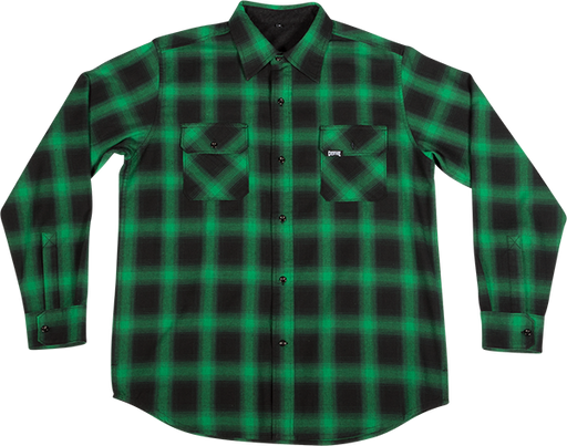 Creature Damned L/S Button Up L-Grn/Blk Plaid