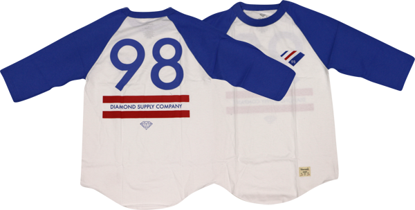 Diamond 98 Supply Raglan 3/4 Slv M-Royal/Wht