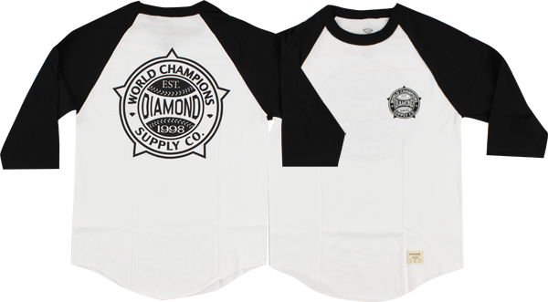 Diamond World Renowned Raglan 3/4 Slv S-Wht/Blk