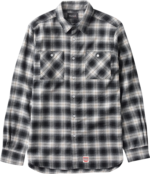 Diamond Ombre Flannel L/S Buttonup S-Black