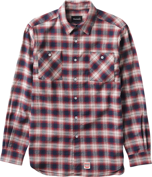 Diamond Ombre Flannel L/S Buttonup Xl-Red