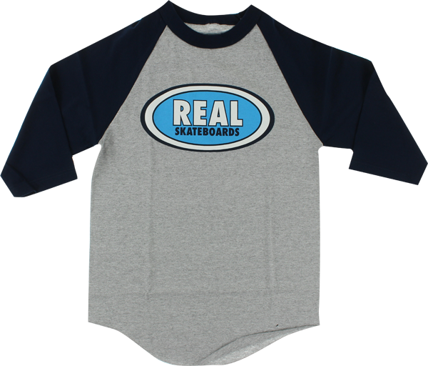Real Og Oval 3/4 Slv Ss L-Heather Grey/Navy