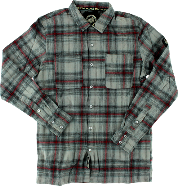 Sc Cliff Button Up L/S L-Blk/Red/Grey Plaid