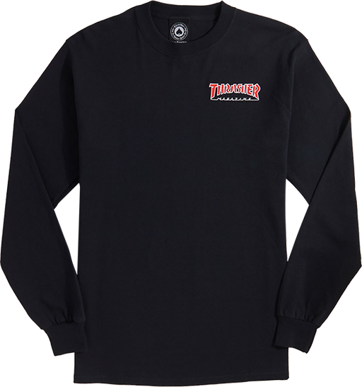 Thrasher Outlined Embroidere L/S L-Black