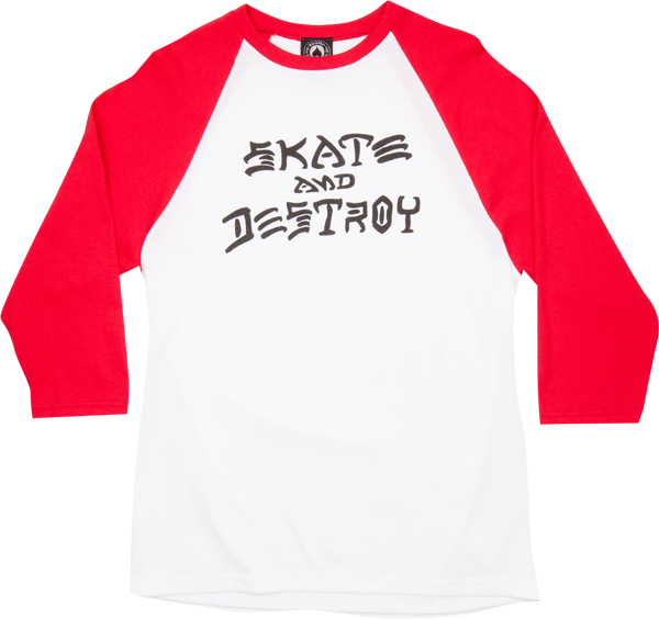 Thrasher Skate & Destroy Raglan 3/4 Slv Xl-Wht/Red