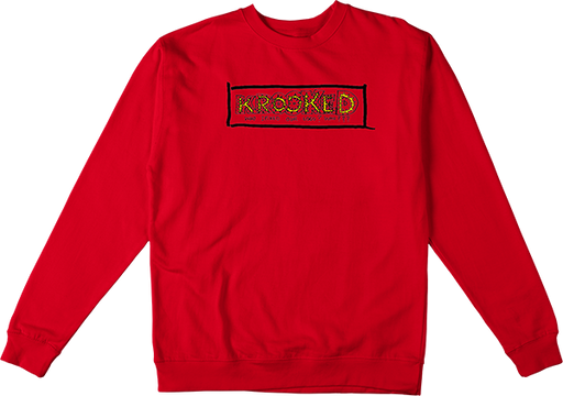 Krooked Spiked Crew/Swt Xl-Red/Yel/Blk