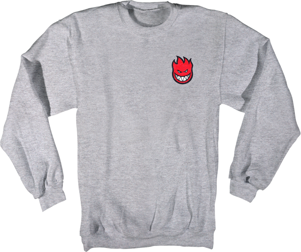 Sf Lil Bighead Crew Hd/Swt L-Grey Heather/Red