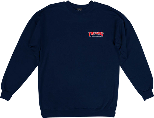 Thrasher Outlined Embroidered Crew/Swt S-Navy