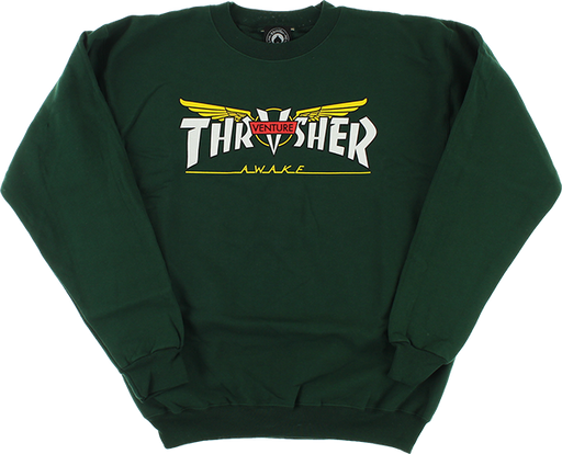 Thrasher Venture Collab Crew/Swt Xl-Forest Green
