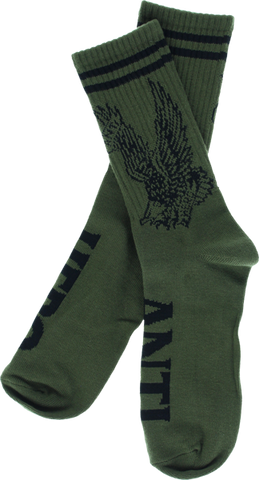 Ah Flying Eagle Crew Socks Army/Blk 1 Pair