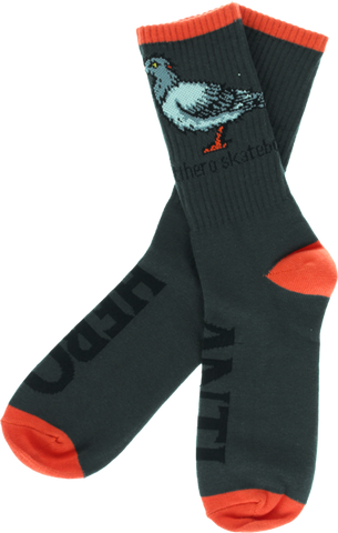 Ah Pigeon Crew Socks Grey Single Pair