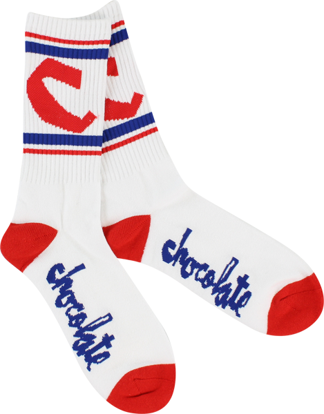 Choc Chunk C Stripe Socks Wht/Red/Blue Single Pair