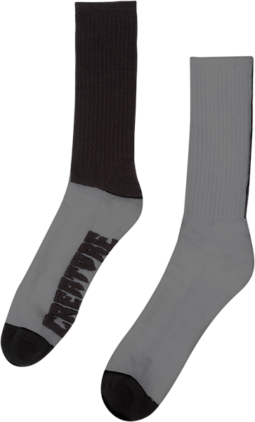 Creature Fifty Fifty Crew Socks Grey/Blk 1Pr