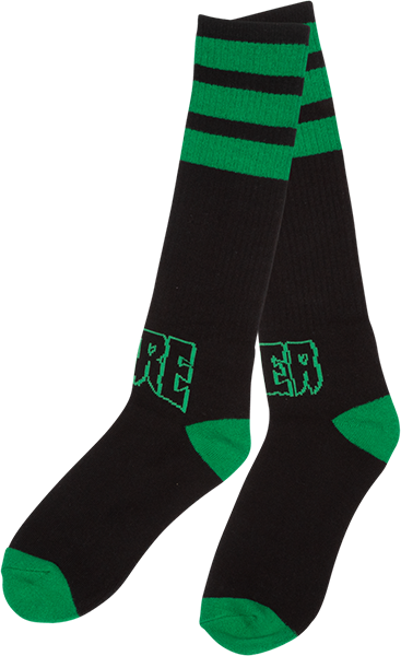 Creature Outliners Tall Socks Blk/Grn 1Pr