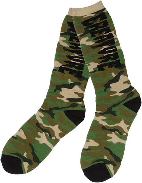Creature Ration Crew Socks Green Camo/Blk 1Pr