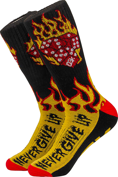 Dgk Flames Crew Socks Black/Yel/Red 1Pr