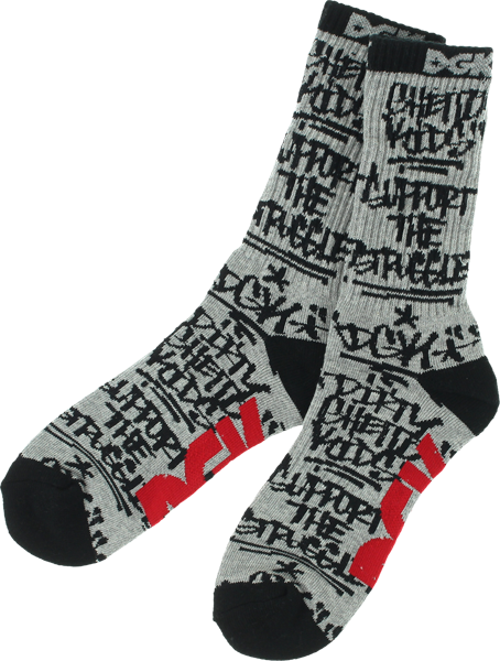 Dgk Getting Up Crew Socks Ath Heather/Blk 1Pair