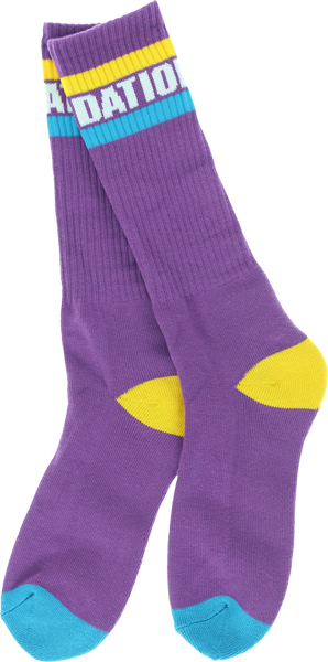 Found Tall Stripe Crew Socks Purple 1Pr