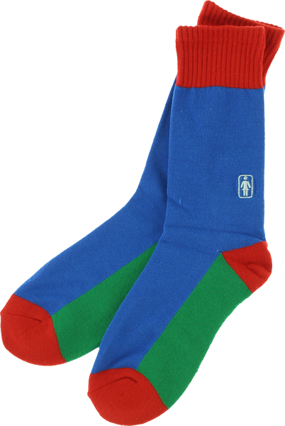 Girl Og Crew Socks Blu/Grn/Red Single Pair