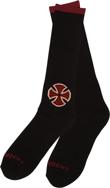 Inde B/C Primary Crew Socks Blk/Red 1Pr