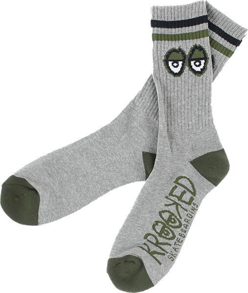 Krk Big Eyes Crew Socks Heather Grey/Blk/Army